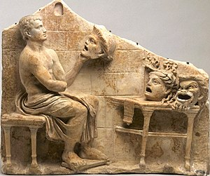 Drama - Relief of a seated poet (Menander) with masks of New Comedy, 1st century BC – early 1st century AD, Princeton University Art Museum