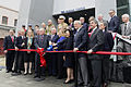 Rep. Mary Landrieu, center, cuts the ribbon during the grand opening of the U.S. Freedom Pavillion- The Boeing Center in New Orleans, La., Jan. 12, 2013 130112-G-BA041-004.jpg