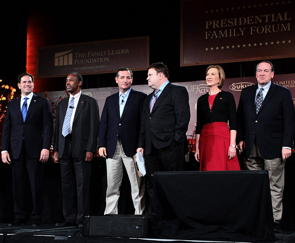 Republican Party presidential candidates Marco Rubio, Ben Carson, Ted Cruz, the host, Carly Fiorina, and Mike Huckabee join the Presidential Family Forum in Iowa in 2015