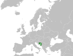 Location of Republika Srpska (dark green) – in Europe (light green & dark grey) – in Bosnia and Herzegovinaa (light green)