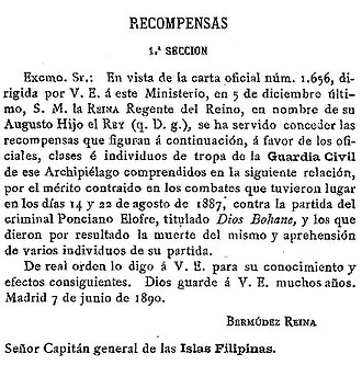 Dios Buhawi - A section in the Diario Oficial del Ministerio de la Guerra (1890) discussing rewards to the Guardia Civil responsible for the death of Elofre, here referred to as Dios Bohane (sic)