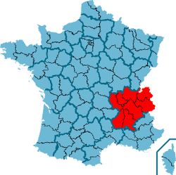 Ligging van rhône alpes in frankrijk