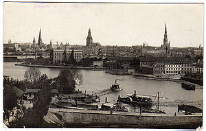 Pārdaugava - Panorama view of Riga seen from Pārdaugava side of the Daugava River. Vintage viewcard from the early 20th century.