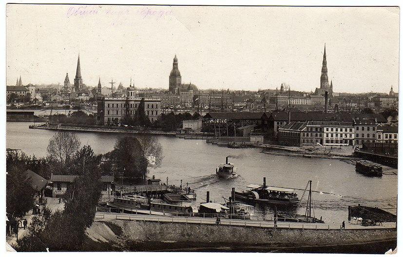 Rīgas panorāma no Pārdaugavas puses pirms Pirmā pasaules kara