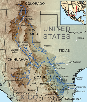 Devils River (Texas) - Map of the Rio Grande watershed, showing the Devils River joining the Rio Grande near Del Rio.