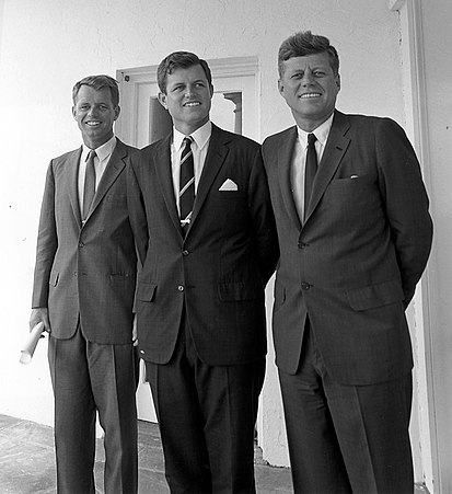 Robert, Ted, and President John F. Kennedy outside the Oval Office in 1963 Robert-Ted-John-Kennedy.jpg