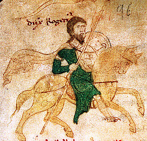 Roger II of Sicily - Roger II riding to war, from Liber ad honorem Augusti of Petrus de Ebulo, 1196.