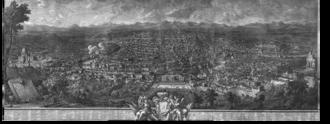Palazzo Corsini, Rome - View of Rome from the Gianicolo, di Giuseppe Vasi (al centro il palazzo Corsini)