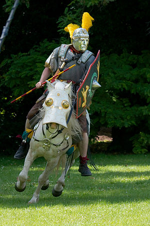 Hippika gymnasia - A reenactor and horse wearing pieces of display armour typical of the hippika gymnasia