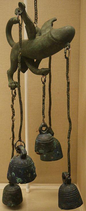 Wind chime - Bronze tintinnabulum, Roman, 1st century AD, British Museum.