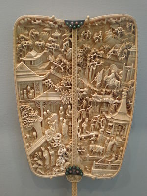 The Story of the Western Wing - An ivory fan depicting scenes from The Story of the Western Wing in the Asian Art Museum of San Francisco.