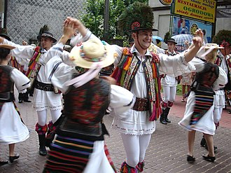 Folklore of Romania - Romanian Folk Group Transilvania, Cluj Napoca, in original Romanian folk-costumes from Bistrita-Nasaud area. 2008