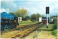 Romney Hythe and Dmychurch trains at Dymchurch.jpg