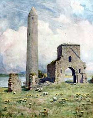 Devenish Island - Painting of the 12th-century round tower and abbey on Devenish Island, Lough Erne