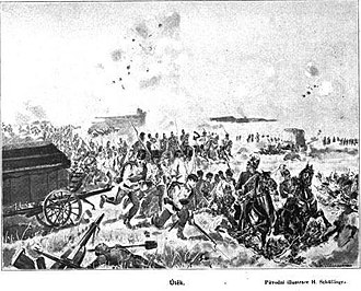 Rout - Disorganized withdrawal of the Austrian army after the defeat at the Battle of Königgrätz during the Austro-Prussian War. An illustration of the book Válka z roku 1866 v Čechách, její vznik, děje a následky (1866 War in Bohemia - its origins, events and consequences) by Servác Heller (1845 - 1922)