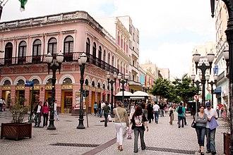 Rua XV de Novembro - November 15 Street, one of the major streets of Curitiba, transformed in a street mall in 1972.