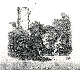 """Rudelsburg - 1849: Inner courtyard of the Rudelsburg with the first Rudelsburg innkeeper Gottlieb """"Samiel"""" Wagner, to the left in the picture is the provisional straw roof that existed until 1853"""