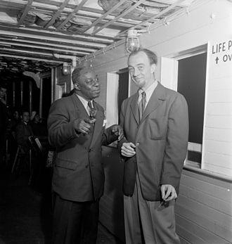 Rudi Blesh - Rudi Blesh and Baby Dodds (left), Riverboat on the Hudson, N.Y., ca. July 1947