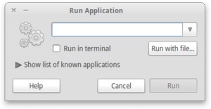 Run command - The Run... dialog box in GNOME.