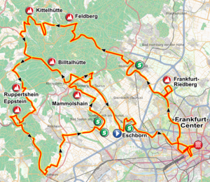 Eschborn-Frankfurt – Rund um den Finanzplatz - Route of the 2011 event. The race starts in Eschborn and finishes in Frankfurt's city centre, totaling around 220 km, mainly through the Taunus Hills.