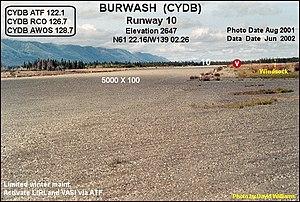 Burwash Airport - Image: Runway 10, Burwash Landing airport, Yukon