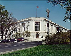 Russell Senate Office Building - This photograph, taken from southwest of the building, shows the main entrance along Constitution Avenue, N.E.