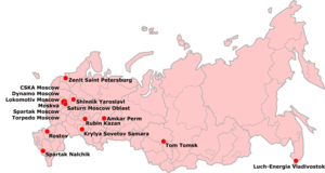 2006 Russian Premier League - Locations of the teams that participated in the 2006 Russian Premier League
