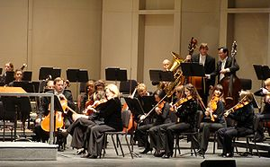 San Antonio Symphony - Some members of the San Antonio Symphony warming up before their grand performance with Sarah Chang at The Majestic, March 2009.