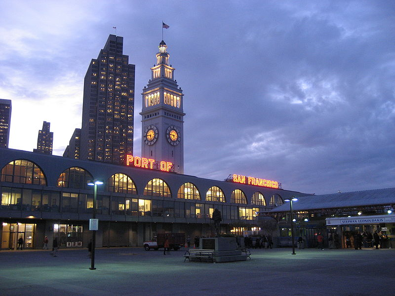 File:SF Ferry Building at night.JPG