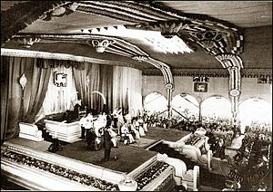 Parliament of Sri Lanka - The 1947 opening of the first parliament at Independence Square by Prince Henry, Duke of Gloucester in the presence of D.S. Senanayake, the first Prime Minister of Ceylon.