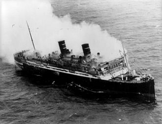 SS Morro Castle (1930) - SS Morro Castle on fire, September 8, 1934.