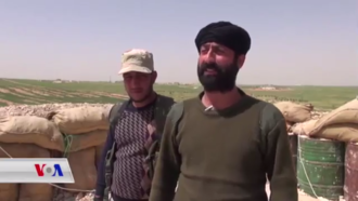 Abu Layla (right) was one of the most prominent FSA commanders among the Syrian Democratic Forces. Of mixed Kurdish-Arab origin, he fought with the Free Syria Brigade, Kurdish Front, and Northern Sun Battalion until being killed during the Manbij offensive. Saadoun al-Faisal (Abu Laya).png