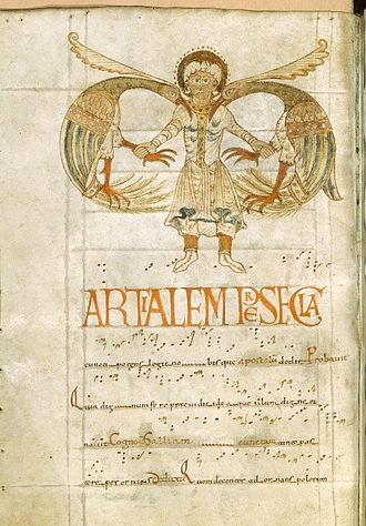 Trope (music) - Troparium (called as such because the tropes of the chant are written down) of St. Michael, who is depicted fighting fantastic birds, 11th century