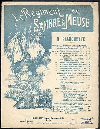 Le Régiment de Sambre et Meuse - Cover of the music sheet