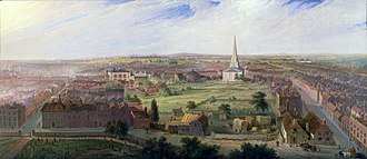 Christ Church, Birmingham - Christ Church viewed from St Phillip's in a painting by Samuel Lines, 1821