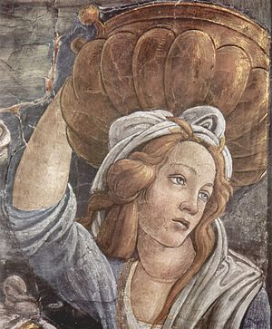Youth of Moses - Detail of one of the women at the pit, perhaps a portrait of Simonetta Vespucci