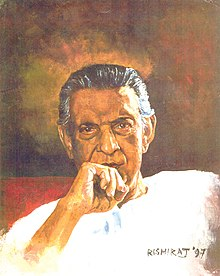 A portrait of Satyajit Ray wearing a white Kurta and right-hand kept on his chin