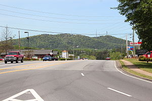Georgia State Route 20 - State Route 20 in Cumming, with Sawnee Mountain in the background