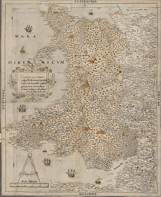 Christopher Saxton - Saxton's unpublished Proof Map of Wales, 1580