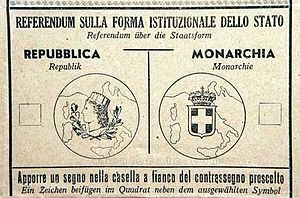 Italian institutional referendum, 1946 - Ballot paper used in the referendum.