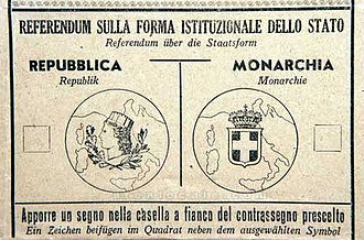 1946 Italian institutional referendum - Ballot paper used in the referendum.