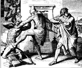 Voluntary manslaughter - Moses kills an Egyptian in this 1860 woodcut by Julius Schnorr von Carolsfeld. The Egyptian had been beating an Israelite, so Moses struck the Egyptian. Moses fled soon afterwards.