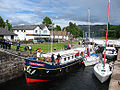 Scottish Highlander Hotel Barge In A Lock.JPG