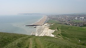 Seaford Cliff & Beach East Sussex, viewed from Seaford Head (May 2006).jpg
