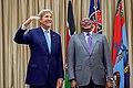 Secretary Kerry Jokes About HIs Height Standing With Kenyan President Uhuru Kenyatta at the State House in Nairobi (28534132883).jpg