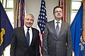Secretary of Defense Chuck Hagel hosts an Honer Cordon for Slovakian Defense Minister Martin Glvac at the Pentagon.jpg