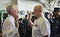 Secretary of the Navy Ray Mabus, left, administers the oath of office to Ensign Earl Thurman aboard the guided missile cruiser USS Monterey (CG 61) during Mabus' visit to the ship May 16, 2013, in Manama 130516-N-QL471-133.jpg