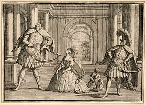 Opera seria - A caricature of a performance of Handel's Flavio, featuring three of the best-known opera seria singers of their day: Senesino on the left, diva Francesca Cuzzoni in the centre, and art-loving castrato Gaetano Berenstadt on the right.