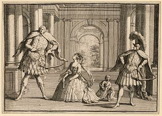 Francesca Cuzzoni - A caricature of a performance of Handel's Flavio, featuring Gaetano Berenstadt on the far right, Cuzzoni in the centre and Senesino on the left.