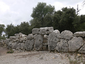 "Ses Païsses - The ""cyclopean"" perimeter walls (built circa 650–540BC) are more recent than many of the buildings within"